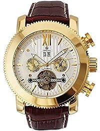 GuTe Golden Funda de lujo clásico Automático Mecánico Reloj de pulsera esfera blanca Calendario