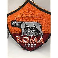 Pignatta della Roma squadra calcio (piñata, pentolaccia) per feste di compleanno di piccoli tifosi della Roma serie A, personalizzabile con il nome del bambino.