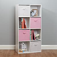 Roost White 8 Cube Storage Unit - White & Pink Baskets