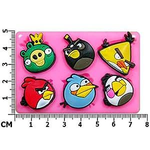 Angry Birds-Moule en Silicone pour décoration de gâteau/Cupcake Toppers Décoration de gâteaux glaçage pâte à sucre Par les fées Blessings outil