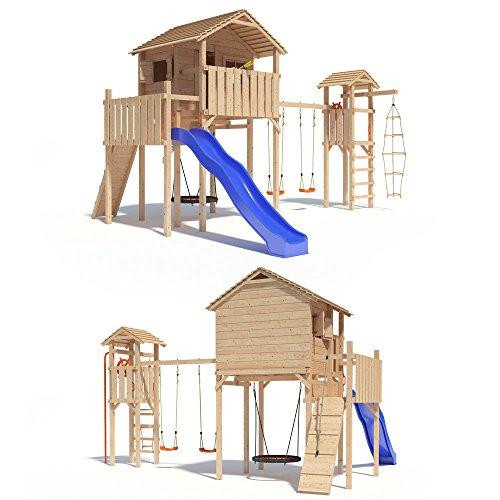 Preisvergleich Produktbild ISIDOR Domizilio Spielturm mit Turm Schaukelanbau, inkl. Sicherheitstreppe, XXL Rutsche, Balkon und Nestschaukel auf bis zu 2,00m Podesthöhe (Blau)