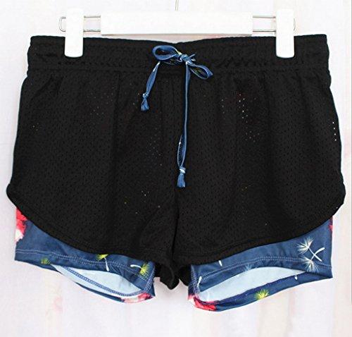 Smile YKK Short Séchage Rapide Femme Coton Mélangé pour Course à Pied Yoga Sport Fitness Casual Pissenlit