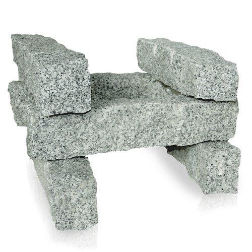 PALIGO Granitpalisade Granit Board Mauer Kante Säule Pfosten Stein Natur Steine Salz & Pfeffer Grau 50 x 10 x 10cm 150kg / 1 Palette Galamio® (G30 Eisen)