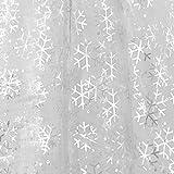 Deconovo Weihnachten Deko Organza Schneeflocken Organzastoff Weiß 300x150 cm Silber Glitzer Schneeflocken