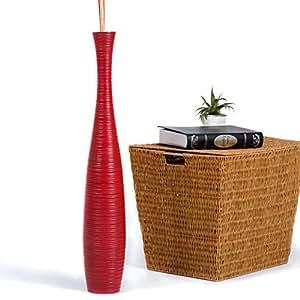 Leewadee Grande Vaso da Terra 90 cm, Legno di Mango, Rosso
