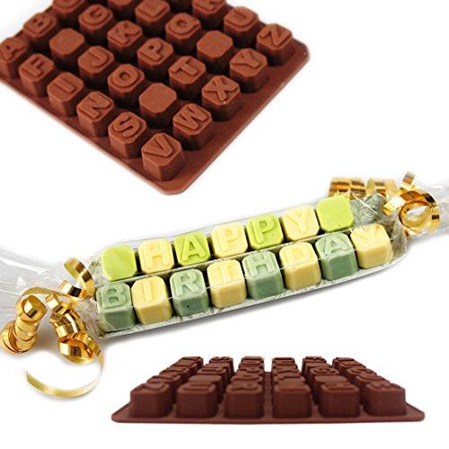 WSS Silikonbackform mit GB-3D-Buchstaben des Alphabets-Formen, für Fondant, Kuchenform, Plätzchen, Gelee, Eis, Dekoration zum Selbermachen, zum Schokoladenformen backen (Buchstaben 3d Alphabet)