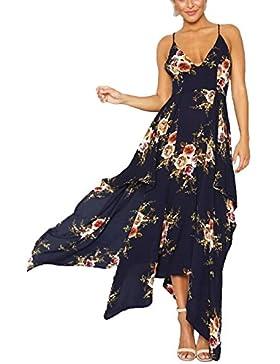 FLKJ Vestido Para Mujer Floral Del Verano Atractivo Playa Impresión Puntas Abiertas Tirantes Gasa De Las Señoras...