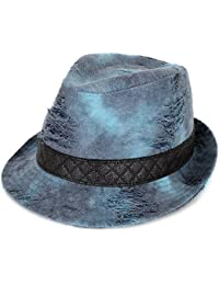 ililily Distressed Tie-Dye Denim Solid Fedora Black Trim Detail Hat