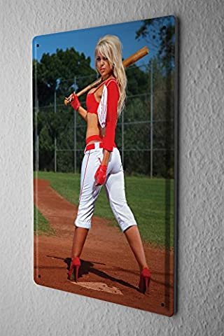 Tin Sign Metal Wall Plaque PosterSports Baseball sexy