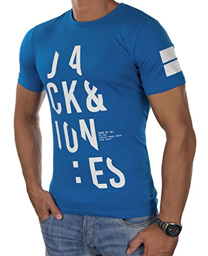 JACK & JONES Herren T-Shirt jcoCUTTER Mehrfarbig Rundhals Slim Fit Blau (Imperial Blue Fit:SLIM)