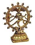 Deko Figur tanzende Shiva Nataraja im Rad aus Polystein gold Optik, 25,5 cm groß, Buddha Statue Figur Gott in Asien Herr des Tanzes