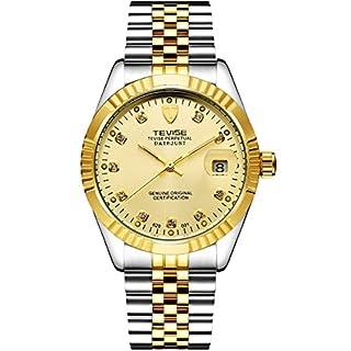 TEVISE Herren Automatische Mechanische Analoge Uhr mit Datum Edelstahl oder Leder Bügel