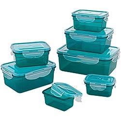 Set de recipientes herméticos para alimentos,14 unidades (7 recipientes y 7 tapas)