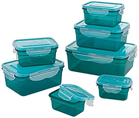 GOURMETmaxx 02914 Plastic Food Storage Container-Set, 14 Pieces | Dishwasher Safe | Clip Lid Food