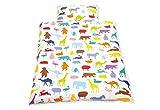 Pinolino 630529-0 - Bett- und Kopfkissenbezug für Kinderbetten, 'Happy Zoo'