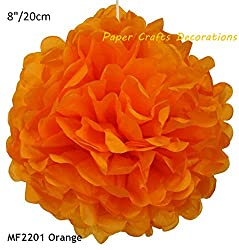 Write The Colors : 8inch=20cm 20pcs/lot Orange DIY Round Tissue Paper Pom Poms Hanging Flowers Balls Deorations Wedding Birthday Party Celebrations