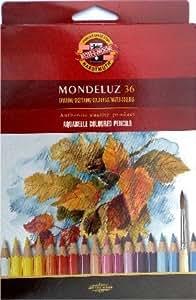 Mondeluz Boite de 36 crayons aquarelle en bois de cèdre