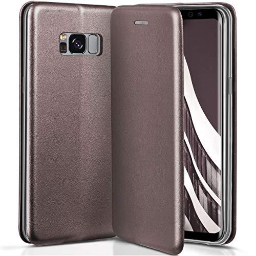 ONEFLOW Samsung Galaxy S8 | Hülle Anthrazit-Grau mit Karten-Fach 360° Business Klapp-Hülle Handytasche Kunst-Leder Handyhülle für Samsung Galaxy S8 Flip Case Cover Tasche Schutzhülle