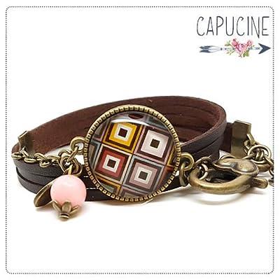 Bracelet 3 Tours Marron Losanges Chevrons avec Cabochon Verre, Breloque et Perle en Jade, Métal Bronze, Simili Cuir, Ajustable