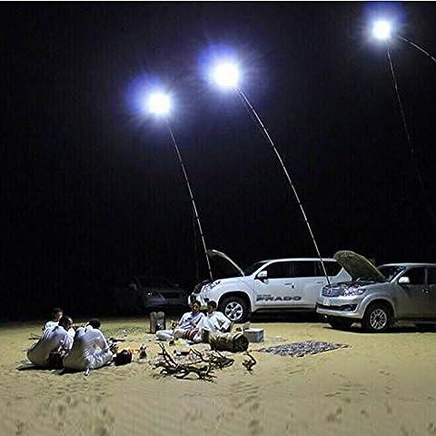 12V Blanc lumières LED Lampe de camping Lanterne d'extérieur Canne à pêche télescopique avec télécommande IR 4m Canne à pêche