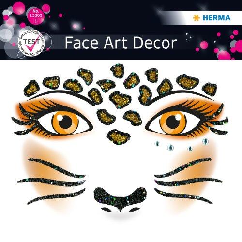 Sticker, Kostüm Aufkleber für das Gesicht, Motiv Leopard, dermatolog. getestet (Leopard Kostüm)