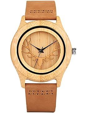 Quartz-Armbanduhr aus Bambus-Holz mit Lederarmband und japanischem Quartzuhrwerk mit Hirschkopf-Design von Yisuya