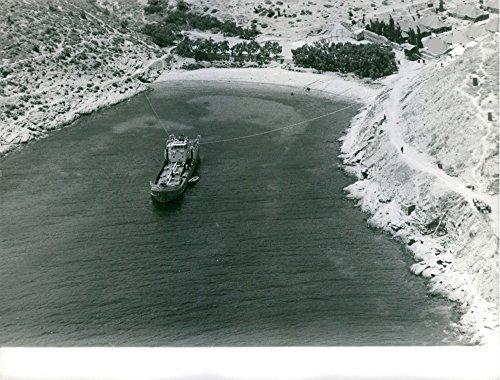 Vintage con foto di una nave è legato in corda per tenere fermo