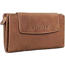 STILORD 'Nele' Monedero Cuero Señoras Mujeres Billetera grande horizontal de la vendimia 10 x tarjetas de débito cremallera ocre marrón