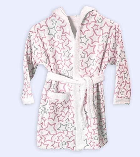 Ti TIN Albornoz Infantil para Niño o Niña con Capucha de Rizo Toalla 100% Algodón Suave y Absorbente con un Diseño de Estrellitas Color Rosa, Talla de 3 a 4 años