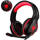 Butfulake Cuffie da gioco PS4, cuffia stereo over da 3,5 mm con microfono flessibile e luce a LED per Xbox One S/PlayStation 4 Pro Slim/Nintendo Switch/PC (rosso)