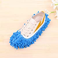 Winbang Floor Dust Cleaning Zapatillas Slipper Cover Mop, Microfibra Mop Shoe Dust Floor Floor Slipper para Dormitorio Baño Office Kitchen Cleaning (Azul)