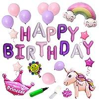 uBook Birthday Decorations Unicorn Happy Birthday Balloons Banner Birthday Party Decorations Set With Balloon Pump