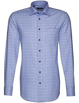 Seidensticker Herren Langarm Hemd Splendesto Regular Fit blau / weiß kariert 186840.15