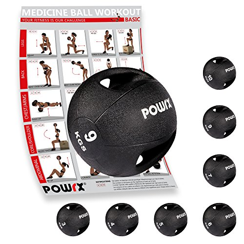 POWRX - Balón Medicinal Asas 9 kg + PDF Workout Negro