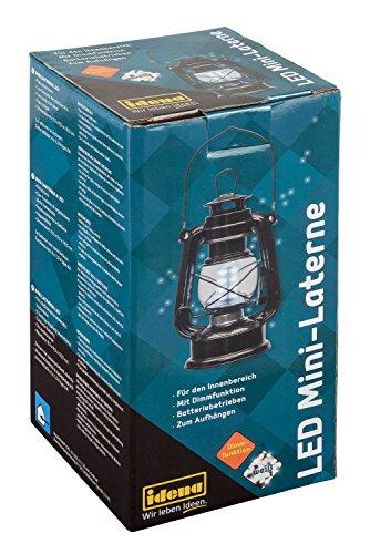 Idena 30134 - Retro Design Öllampe, LED Mini Laterne mit 12 sehr hellen LED, Dimmfunktion, Batterie betrieben, für Party, Deko, Garten, Balkon, Camping, als Stimmungslicht, ca. 19 x 10 cm