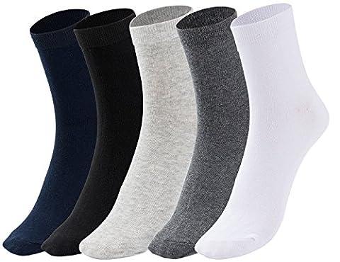 Men's Socks (5 Pack) Cotton Blend Socks Comfortable Breathable Plain Cotton Blend Socks (One size, Black + White+ Gray + Dark Gray +