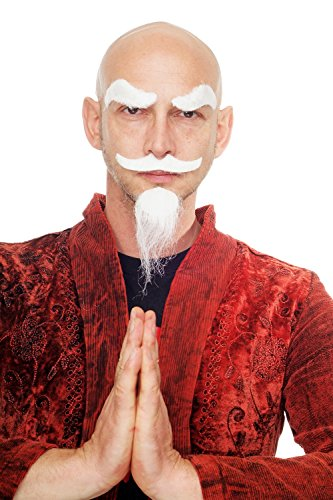 DRESS ME UP - Weißer Spitzbart Karneval Fasching Halloween falscher Bart Greis Opa Kungfu Meister MM-33 Weiße Bärte