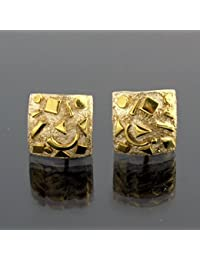 'Fragments'. Small square stud earrings in gold and silver