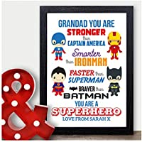 Personalised Superhero GRANDAD Birthday Gifts for Him Grandpa Pops Grandfather Super Hero Print Gifts - PERSONALISED with ANY NAME and ANY RECIPIENT - Black or White Framed A5, A4, A3 Prints or 18mm Wooden Blocks