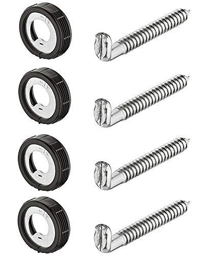 Gedotec Schraubhaken Hängeschrank Schrankaufhänger zum Einbohren Küchen-Aufhänger für Möbel | Schrank-Aufhängung höhen-verstellbar | Tragkraft 25 kg | 4 Stück - Schrankhalter rund mit Schrauben