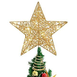 STOBOK-Weihnachtsbaumspitze-glitzernder-Stern-Baumspitze-25-cm-Weihnachtsbaum-Topper-Ornamente-in-warmen-Licht