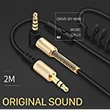 S2S Aux Spring Cable with Microphone Gold-Plated 3.5mm Jack Male to Male 90 Degree Audio Cable Jack 3.5 for Smart Phones (Black)
