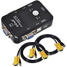 ieGeek Switch KVM Box Caja Conmutador 3 Puertos de USB-A 2 Conectores de USB-B 2 Entradas de VGA y cada dos Cable de Tipo-A Tipo-B y VGA de Calidad Alta Para Monitor de PC, Teclado, Control de Ratón, Impresora, Escáner y mucho más, Negro