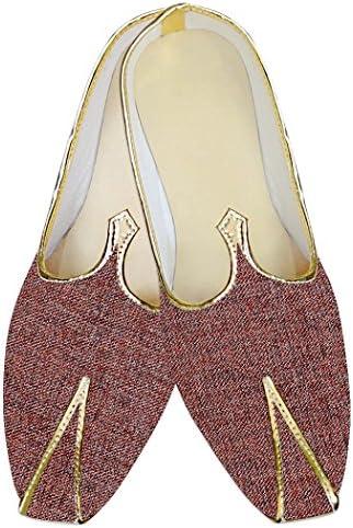 INMONARCH Poliéster de Yute Borgoña Hombres Zapatos de Boda MJ015376