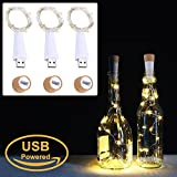 LED Cork Bottle Lights, USB Powered Rechargeable, 6.2ft 20 LED, Copper Wire String Starry LED Lights for DIY, Home Kitchen, Wedding, Halloween, Christmas, Party Decor (Warm White, 3 Pcs)