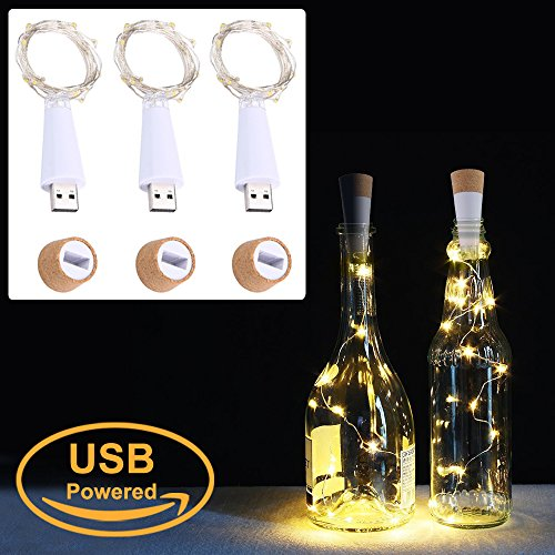 LED Cork Flasche Lichterkett, USB Powered Akku, 1.9 m 20 LEDs, Kupfer Draht String Sternenhimmel LED Lichter für Startseite Küche, Hochzeit, Halloween, Weihnachten, Partei Decor (warmes weiß, 3 Stück)