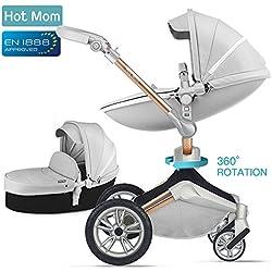 Silla de paseo Hot Mom 3 en 1 Reversibilidad rotación multifuncional de 360 grados con asiento y capazo 2018 Nueva actualización - Gris