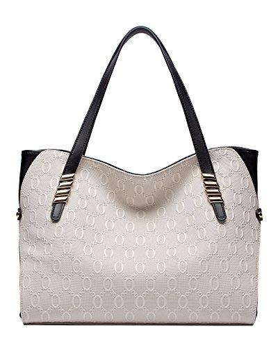 Weiß Leder Große Hobo (BOYATU echtes Leder Umhängetasche für Damen Top Handtasche Großes Kapazitäts-Tote (A-Weiß))