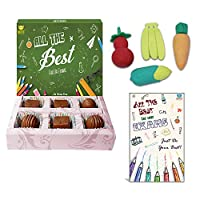 BOGATCHI All The Best Chocolate Gift for Exams, 6pcs + Free Exam Wishes Card + Fruit Erasers