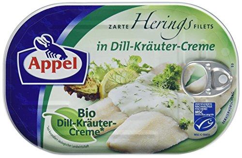 Appel Heringsfilets, zarte Fisch-Filets in Bio-Dill-Kräuter-Creme, MSC zertifiziert, 200 g